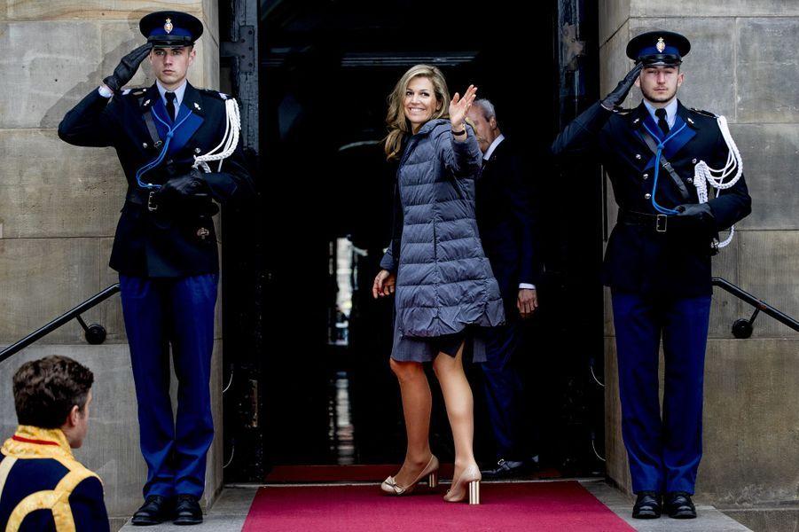 La reine Maxima des Pays-Bas à son arrivée à Amsterdam, le 24 avril 2018