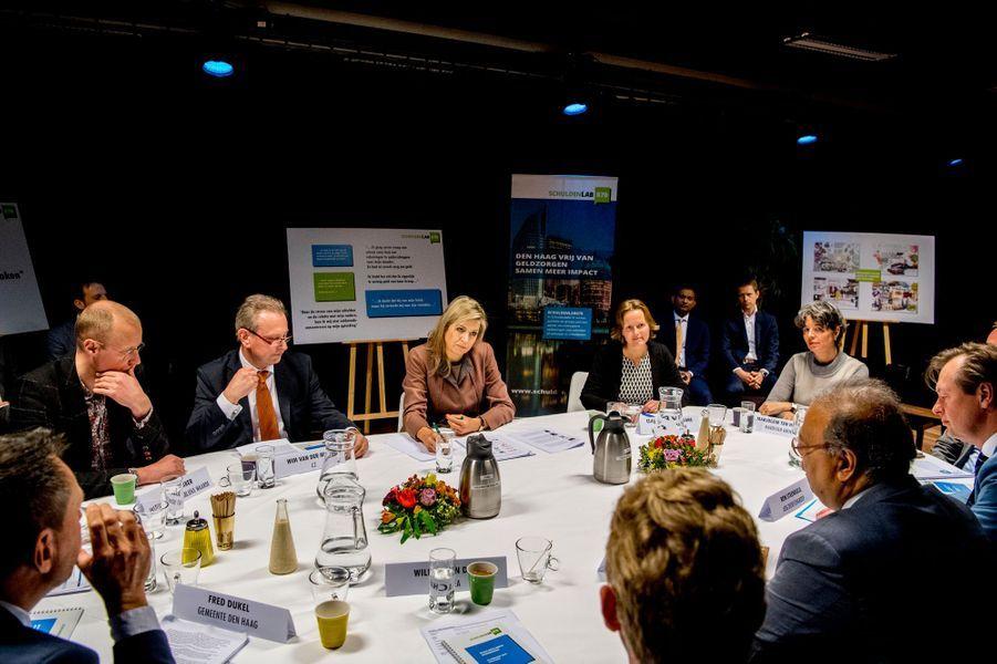 La reine Maxima des Pays-Bas en visite de travail sur le surendettement à La Haye, le 22 février 2018