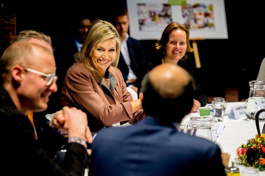 La reine Maxima des Pays-Bas en réunion à La Haye, le 22 février 2018