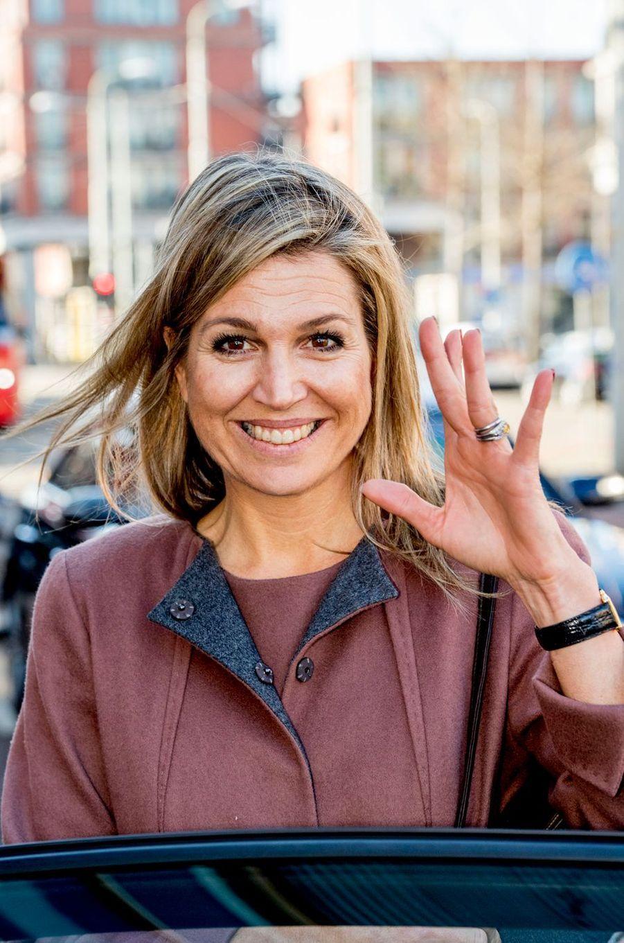 La reine Maxima des Pays-Bas à La Haye, le 22 février 2018