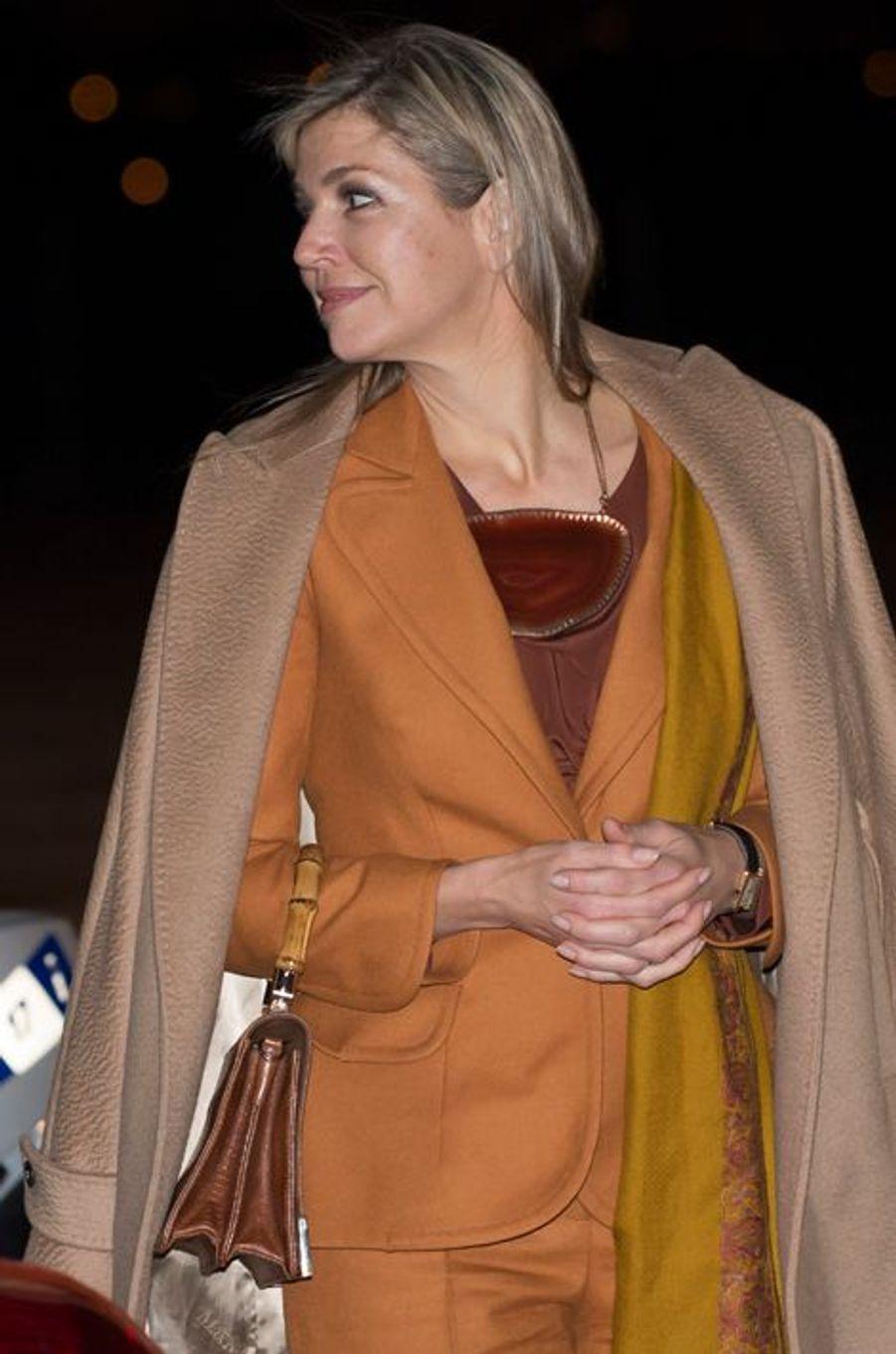 La reine Maxima des Pays-Bas à l'aéroport de Villacoublay, le 9 mars 2016