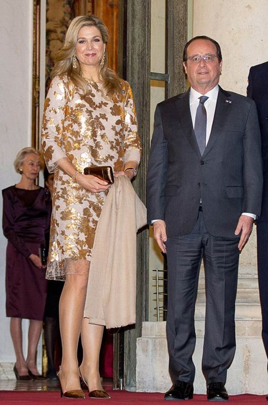 La reine Maxima des Pays-Bas, avec François Hollande, à Paris, le 10 mars 2016