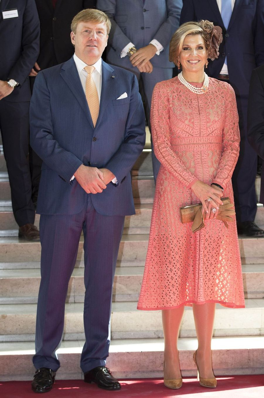 La reine Maxima des Pays-Bas dans une robe Elie Saab à Lisbonne, le 11 octobre 2017