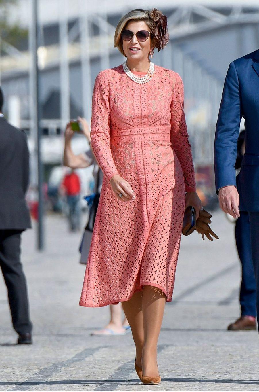 La reine Maxima des Pays-Bas à Lisbonne, le 11 octobre 2017