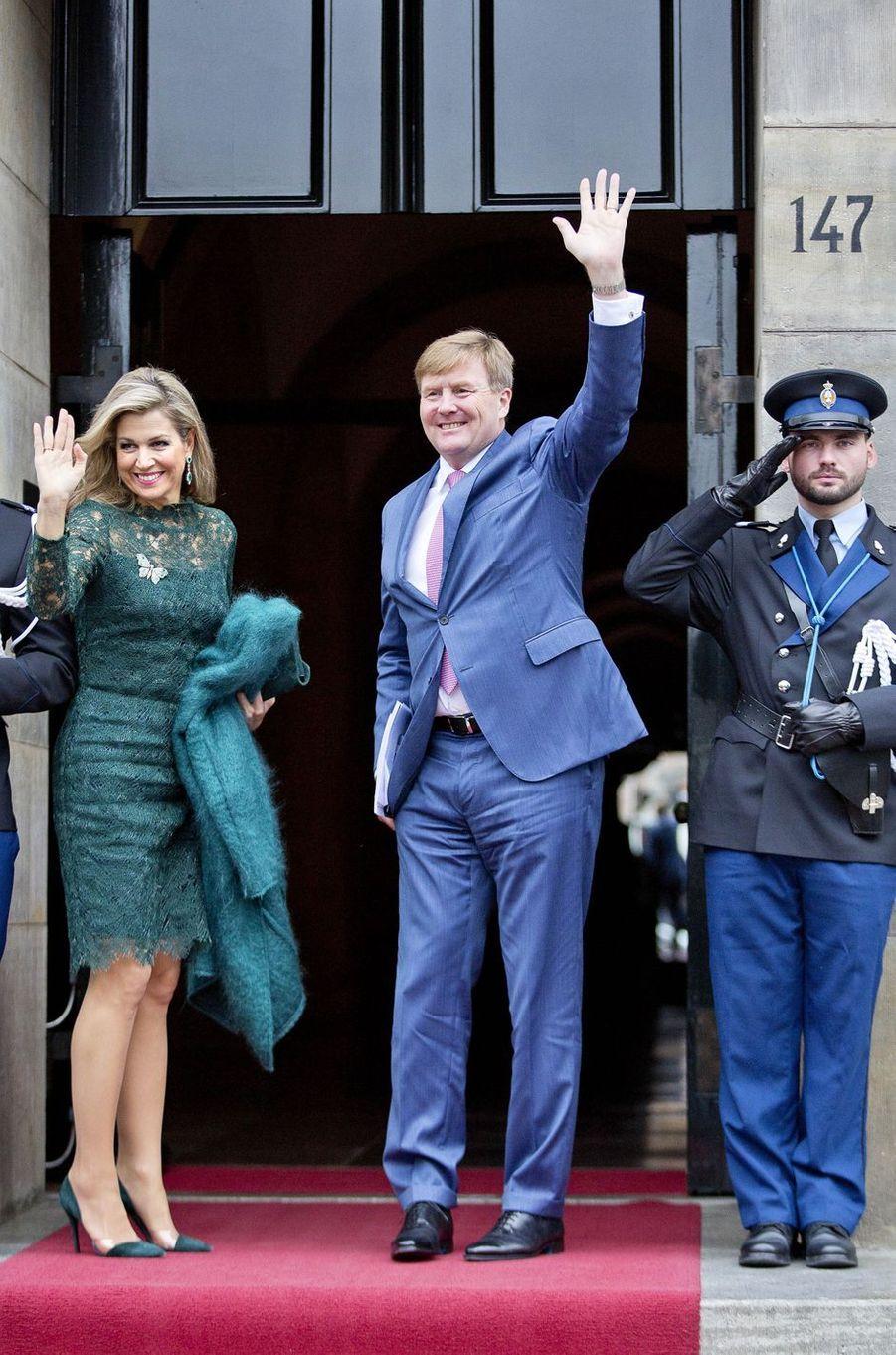 La reine Maxima et le roi Willem-Alexander des Pays-Bas au Palais royal à Amsterdam, le 6 décembre 2017
