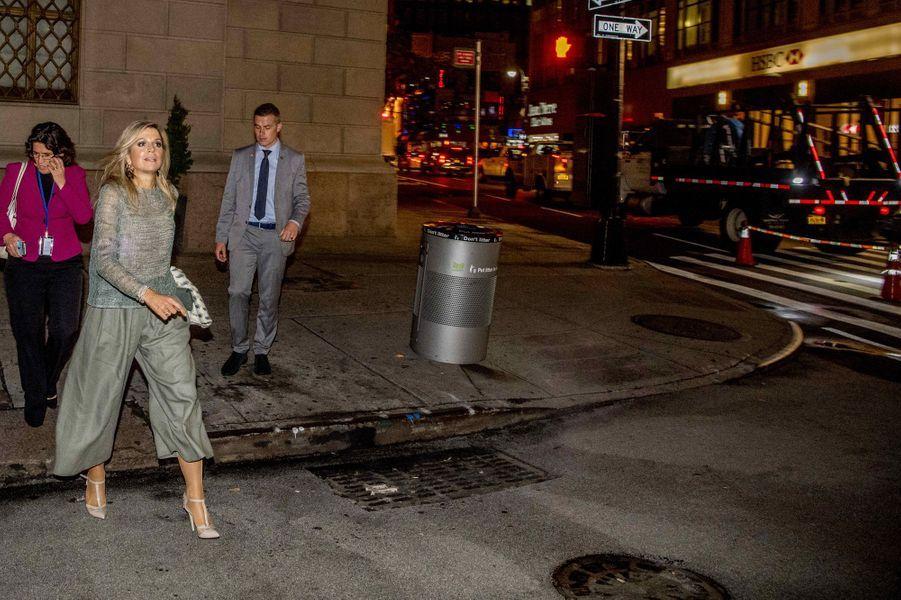 La reine Maxima des Pays-Bas dans une rue de New-York, le 19 septembre 2017