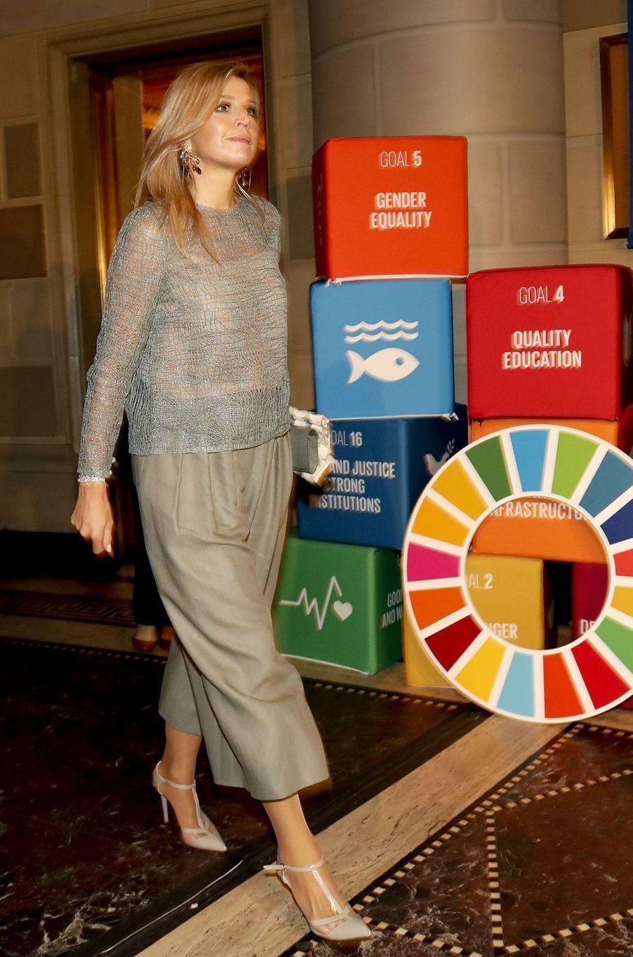 La reine Maxima des Pays-Bas au dîner des Goalkeepers Global Goals Awards à New-York, le 19 septembre 2017