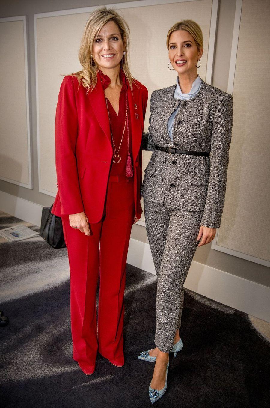 La reine Maxima des Pays-Bas avec Ivanka Trump à New-York, le 20 septembre 2017