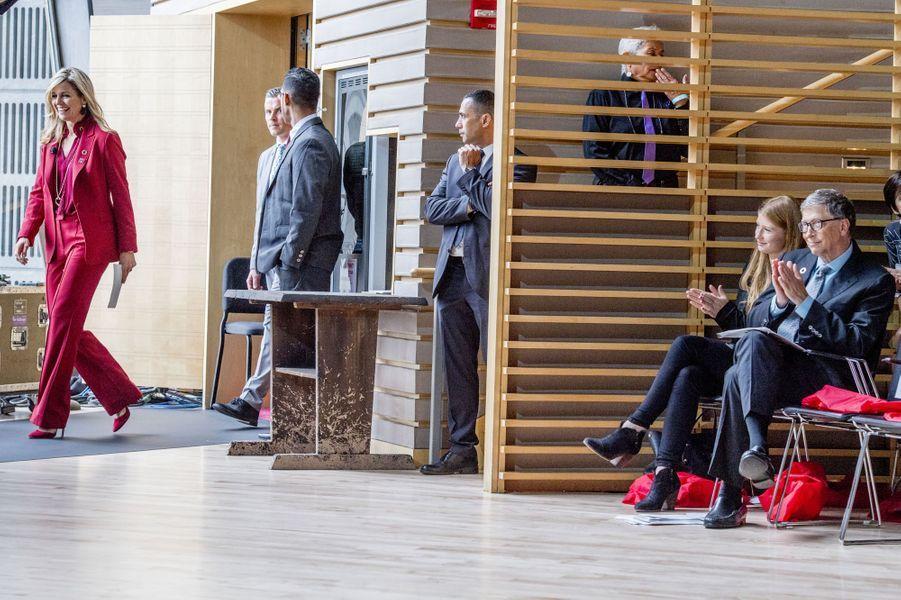 La reine Maxima des Pays-Bas, avec Bill Gates et sa fille Jennifer à New-York, le 20 septembre 2017