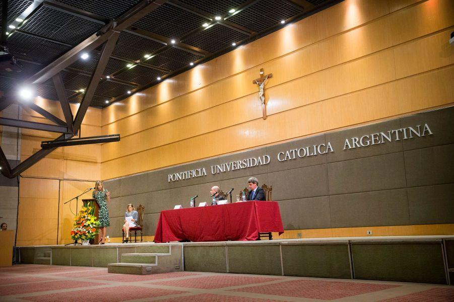 La reine Maxima des Pays-Bas à l'Université catholique argentine à Buenos-Aires, le 11 octobre 2016