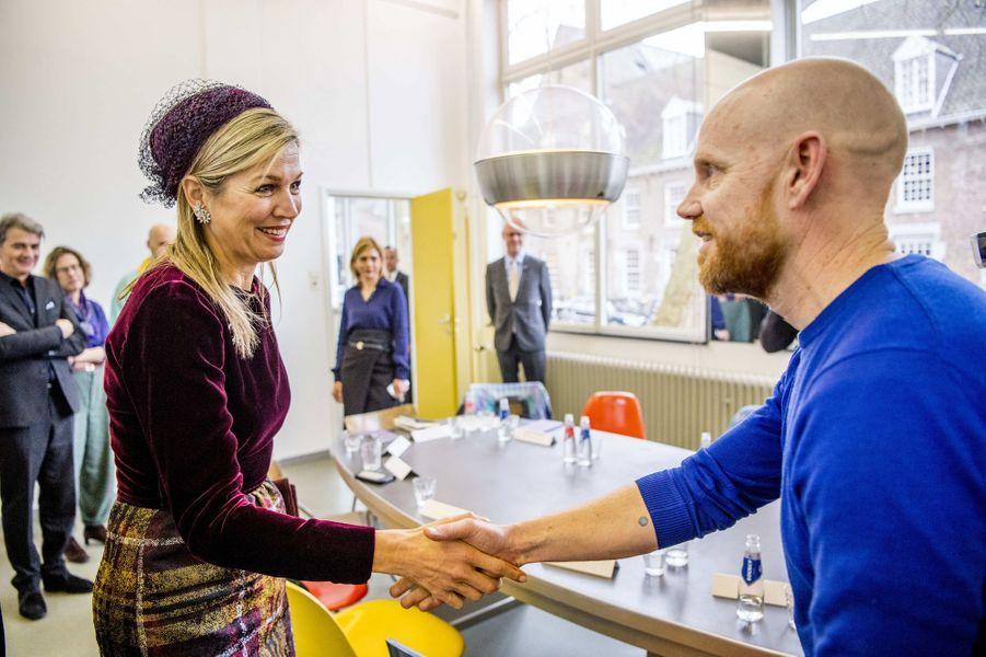 La reine Maxima des Pays-Bas à la Jan Van Eyck Academie à Maastricht, le 7 mars 2018