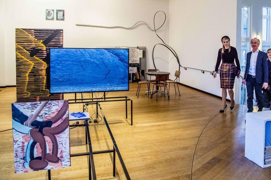 La reine Maxima des Pays-Bas à la Jan Van Eyck Academie de Maastricht, le 7 mars 2018