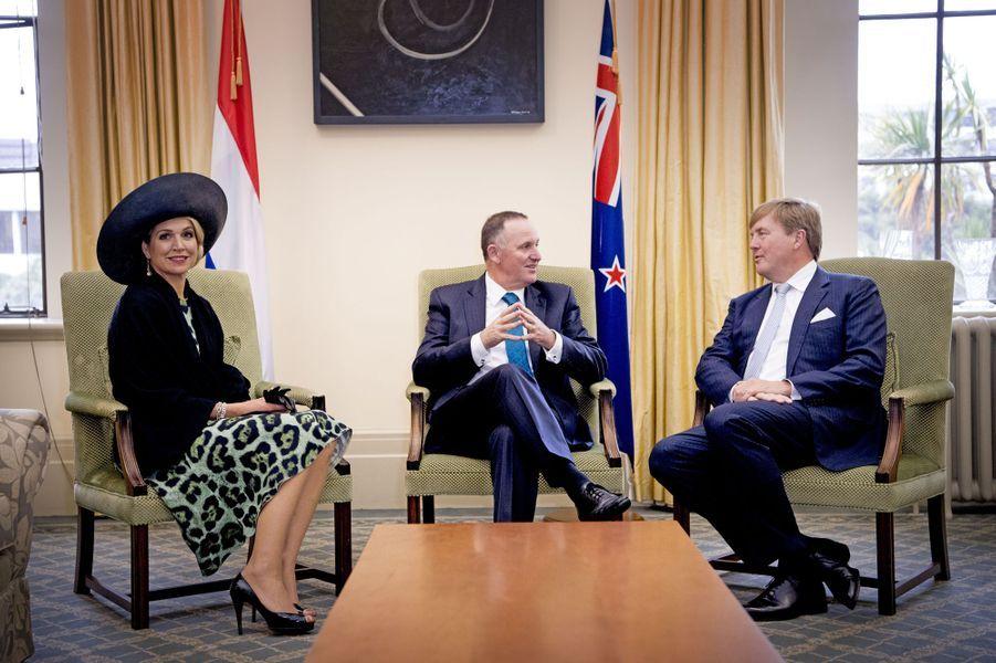La reine Maxima et le roi Willem-Alexander des Pays-Bas avec le Premier ministre de Nouvelle-Zélande à Wellington, le 7 novembre 2016