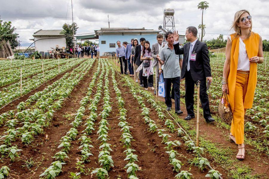 La reine Maxima des Pays-Bas dans une ferme horticole à Da Lat au Vietnam, le 30 mai 2017