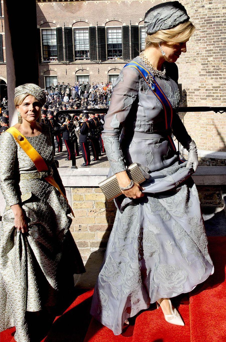 La reine Maxima des Pays-Bas pour le Prinsjesdag à La Haye le 19 septembre 2017