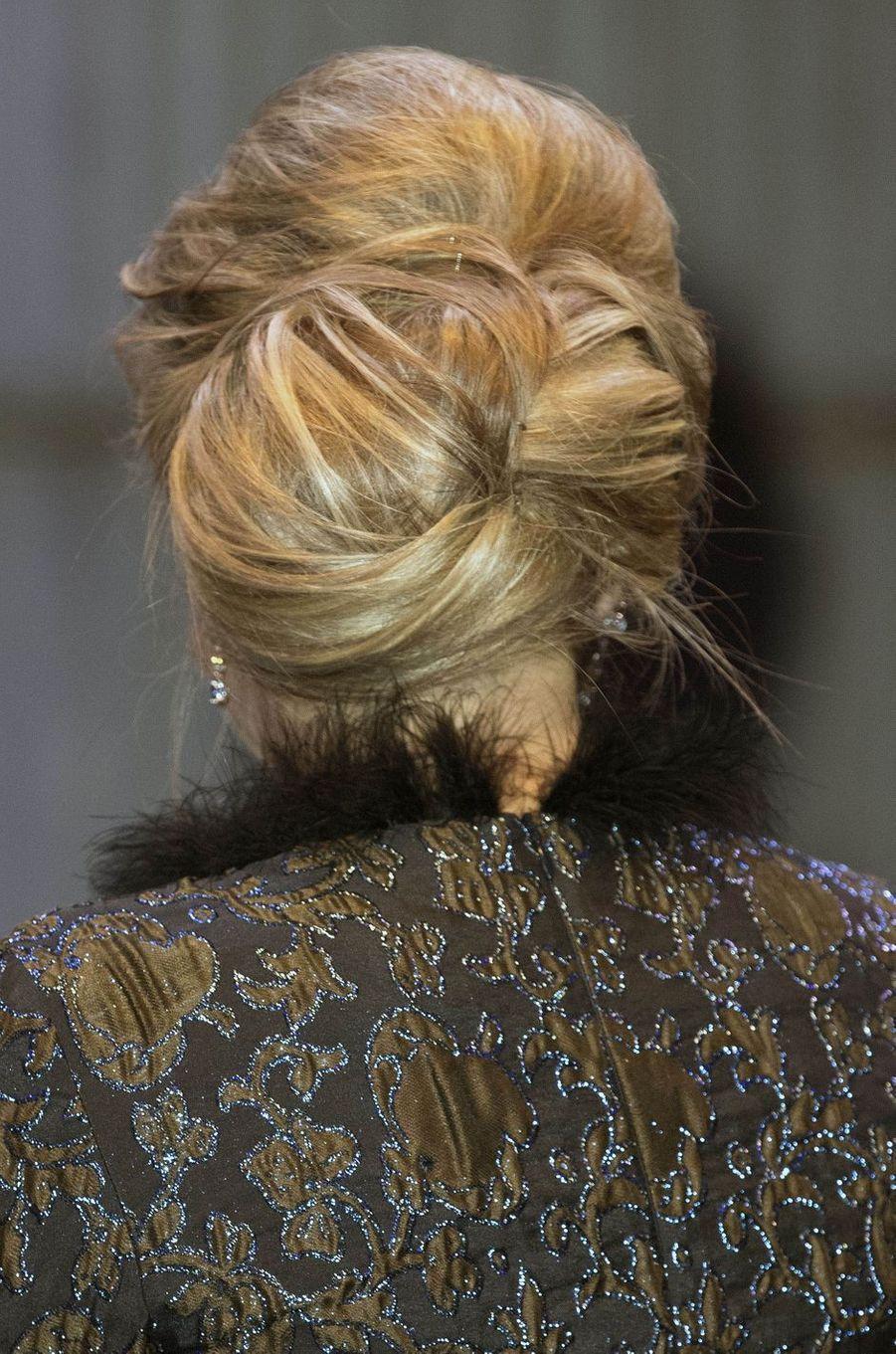Le chignon de la reine Maxima des Pays-Bas à Amsterdam, le 27 novembre 2017
