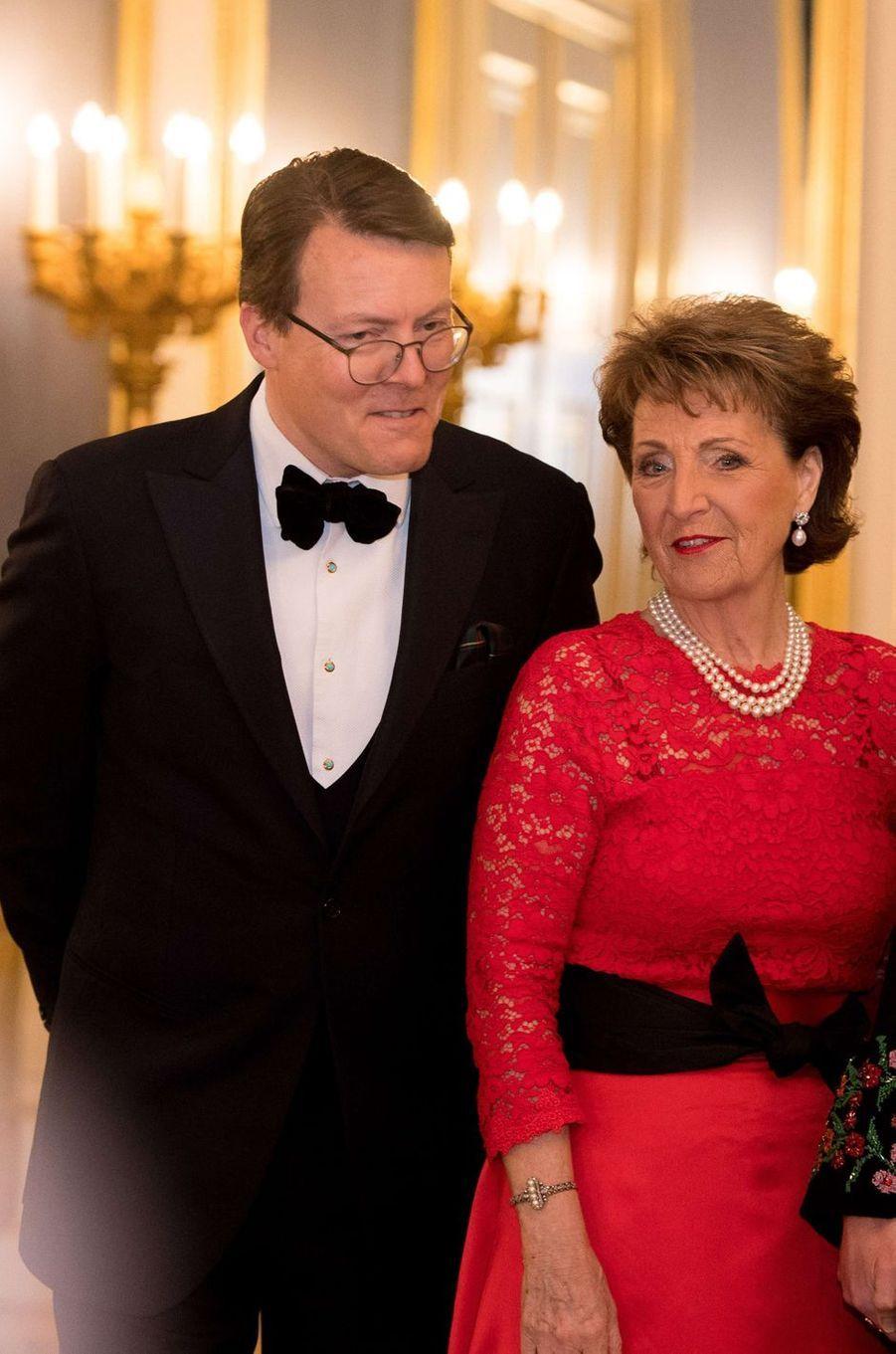 Le prince Constantijn des Pays-Bas et sa tante la princesse Margriet, à La Haye le 20 mars 2018
