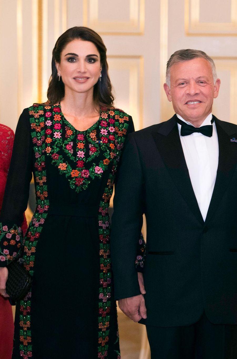 La reine Rania et le roi Abdallah II de Jordanie à La Haye, le 20 mars 2018