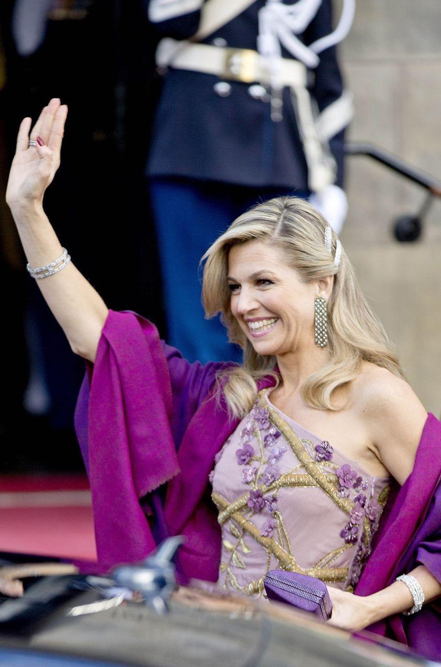 La reine Maxima des Pays-Bas arrive au Palais royal à Amsterdam, le 28 avril 2017