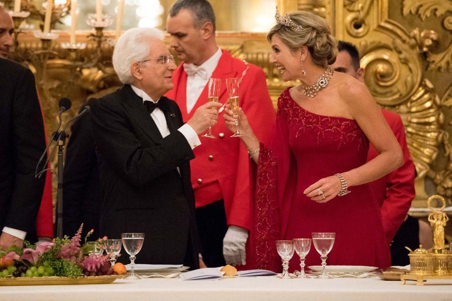 La reine Maxima des Pays-Bas et le président italien Sergio Mattarella à Rome, le 20 juin 2017