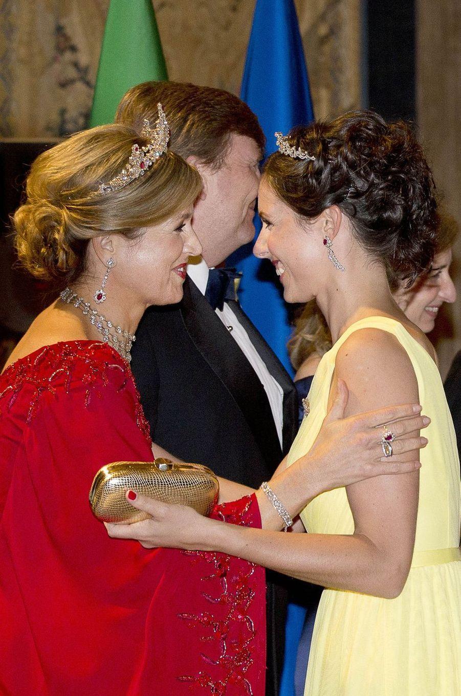 La reine Maxima des Pays-Bas avec la princesse Viktoria de Bourbon de Parme à Rome, le 20 juin 2017