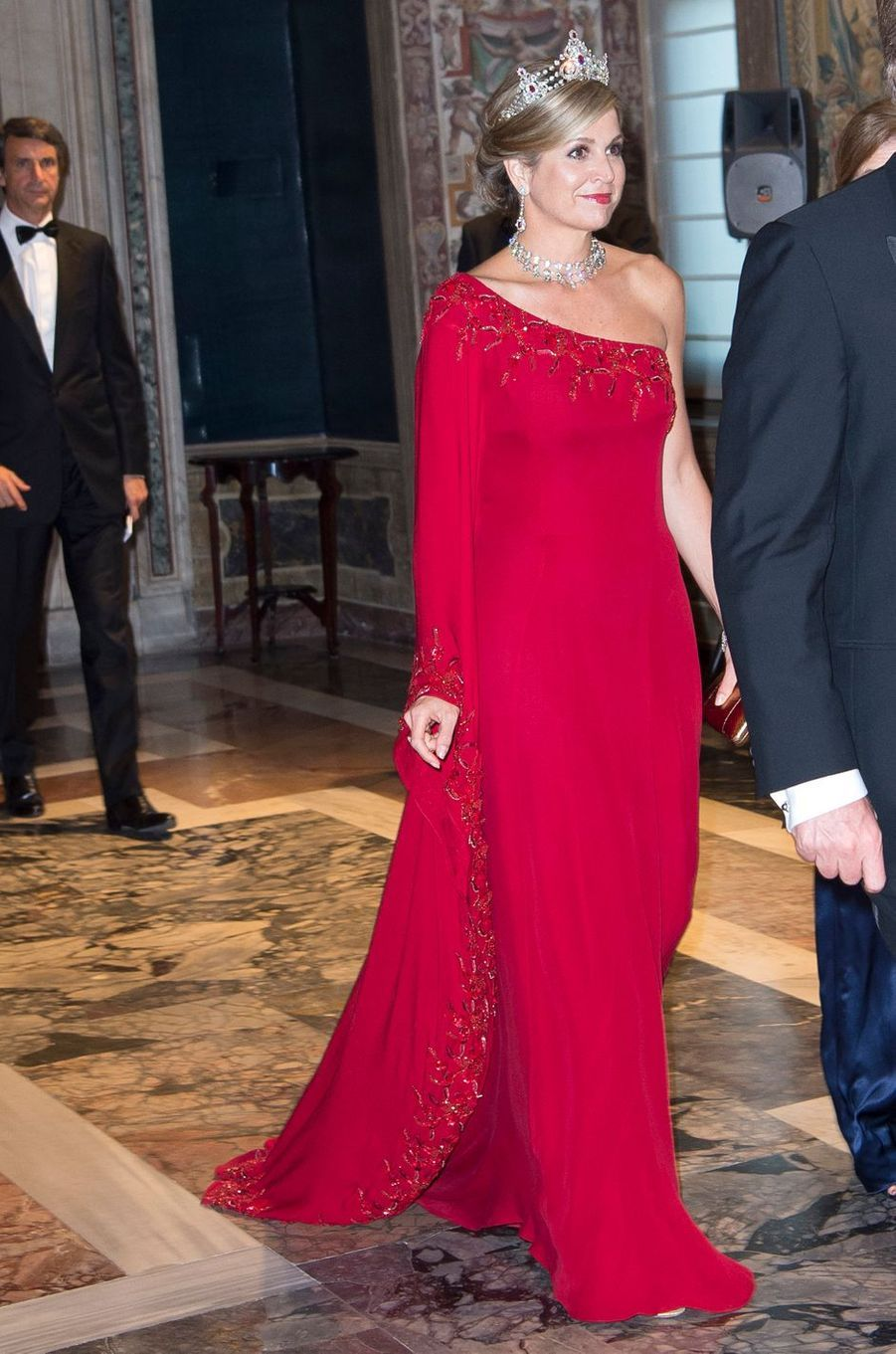 La reine Maxima des Pays-Bas dans une robe Jan Taminiau à Rome, le 20 juin 2017