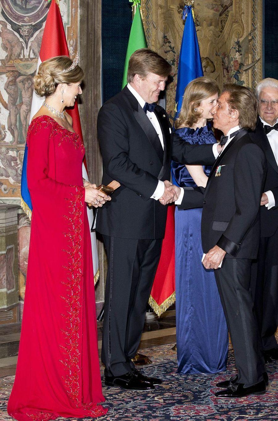 La reine Maxima et le roi Willem-Alexander des Pays-Bas avec Valentino à Rome, le 20 juin 2017