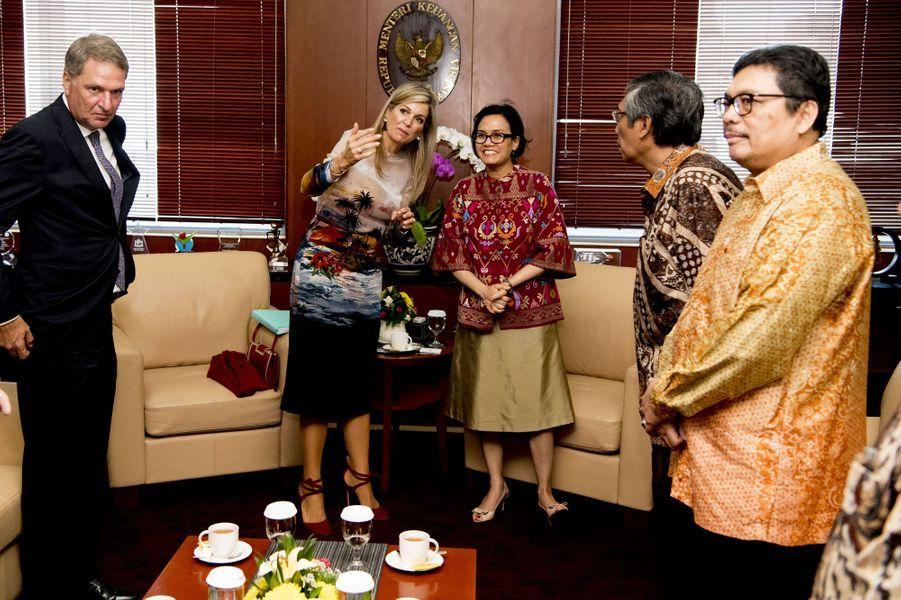 La reine Maxima des Pays-Bas avec la ministre indonésienne des Finances à Jakarta, le 1er septembre 2016
