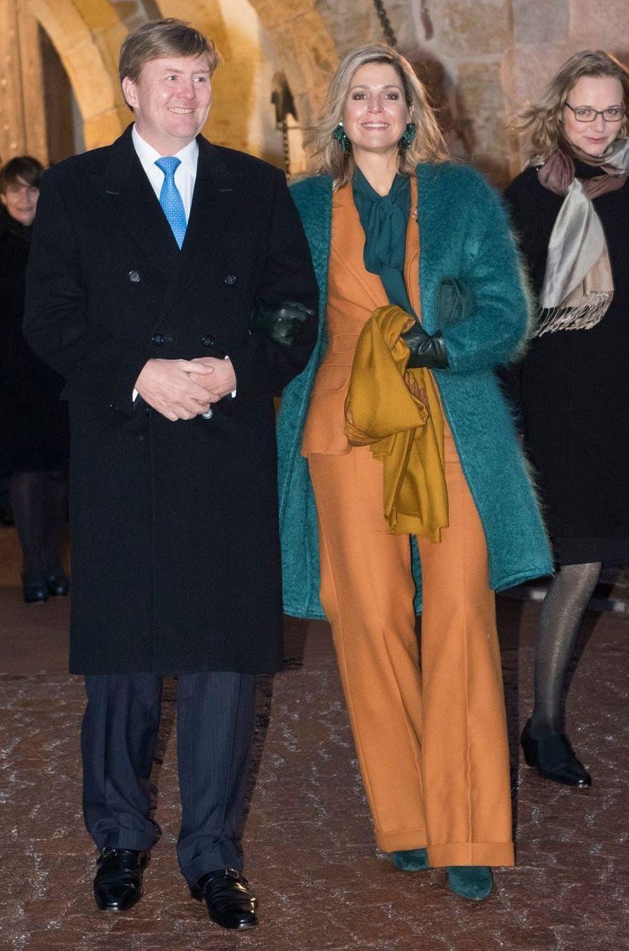 La reine Maxima des Pays-Bas dans un tailleur Claes Iversen en Allemagne le 7 février 2017