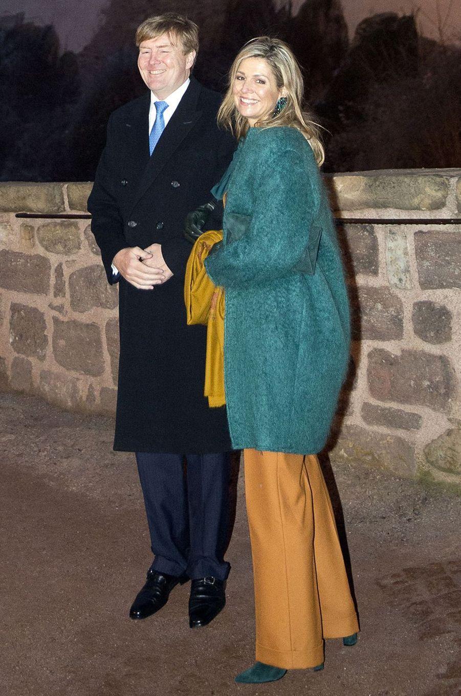 La reine Maxima des Pays-Bas avec un manteau Natan en Allemagne le 7 février 2017