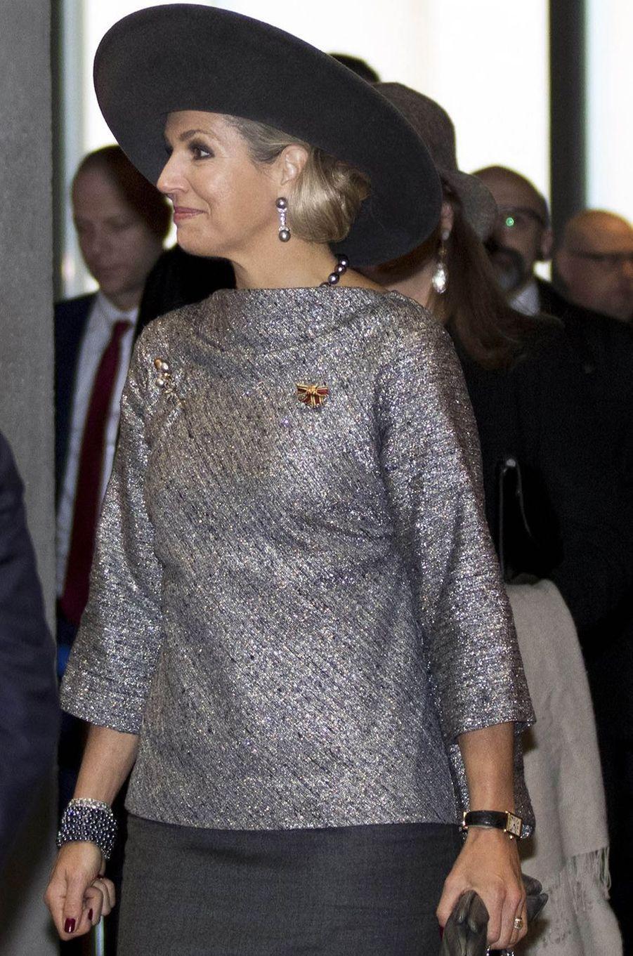 La reine Maxima des Pays-Bas vêtue en Natan en Allemagne le 8 février 2017