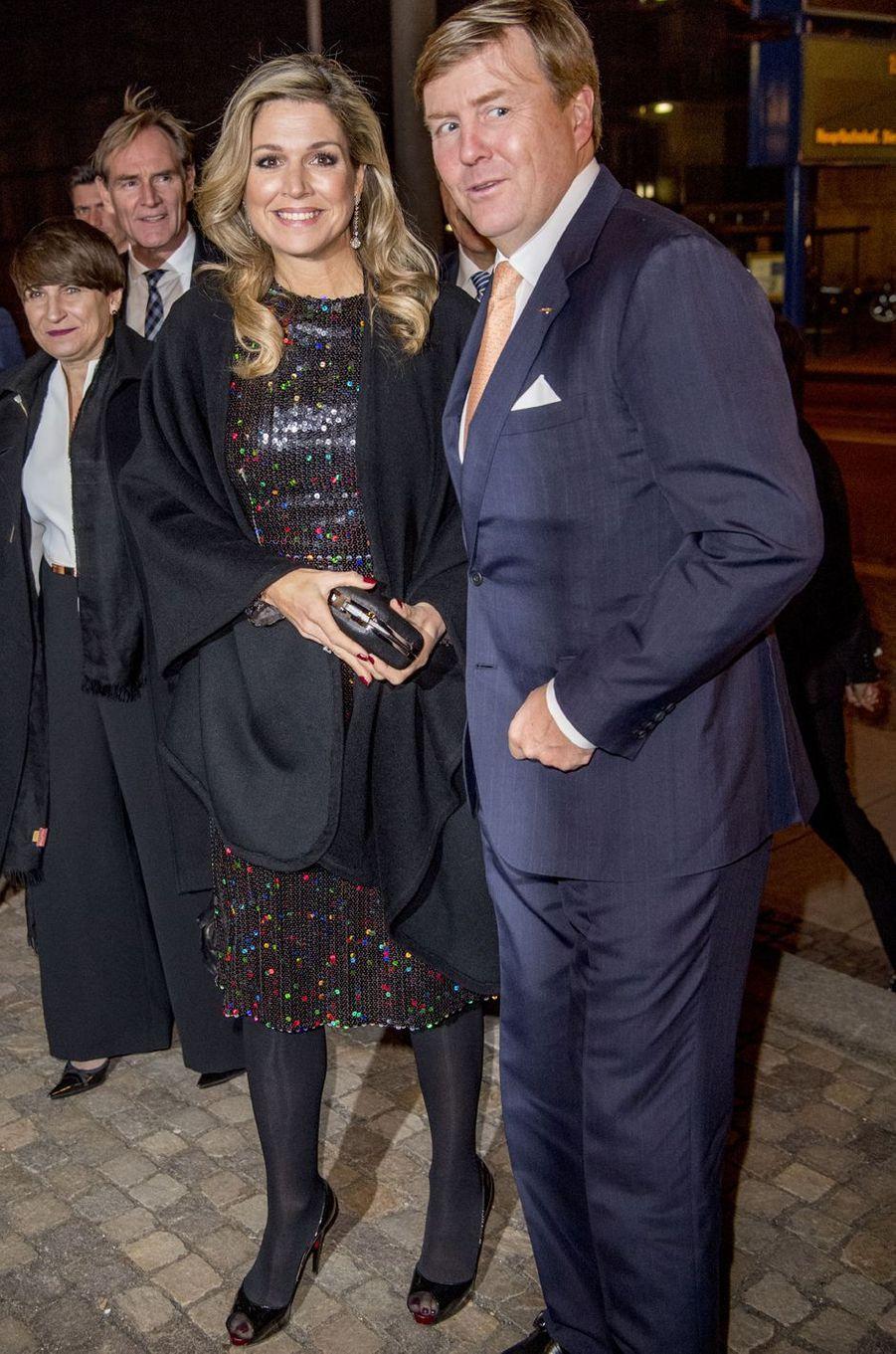 La reine Maxima des Pays-Bas en Nina Ricci en Allemagne le 8 février 2017