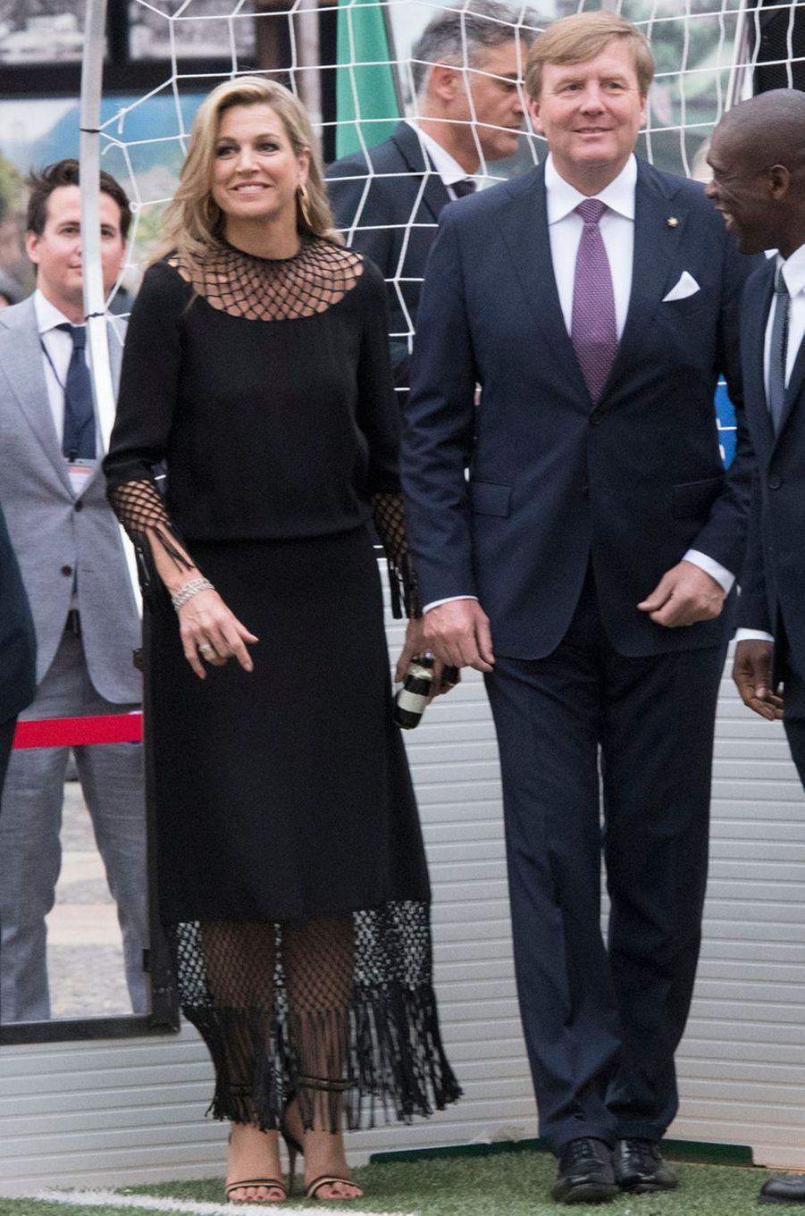 La reine Maxima des Pays-Bas, en Valentino, à Milan, le 22 juin 2017