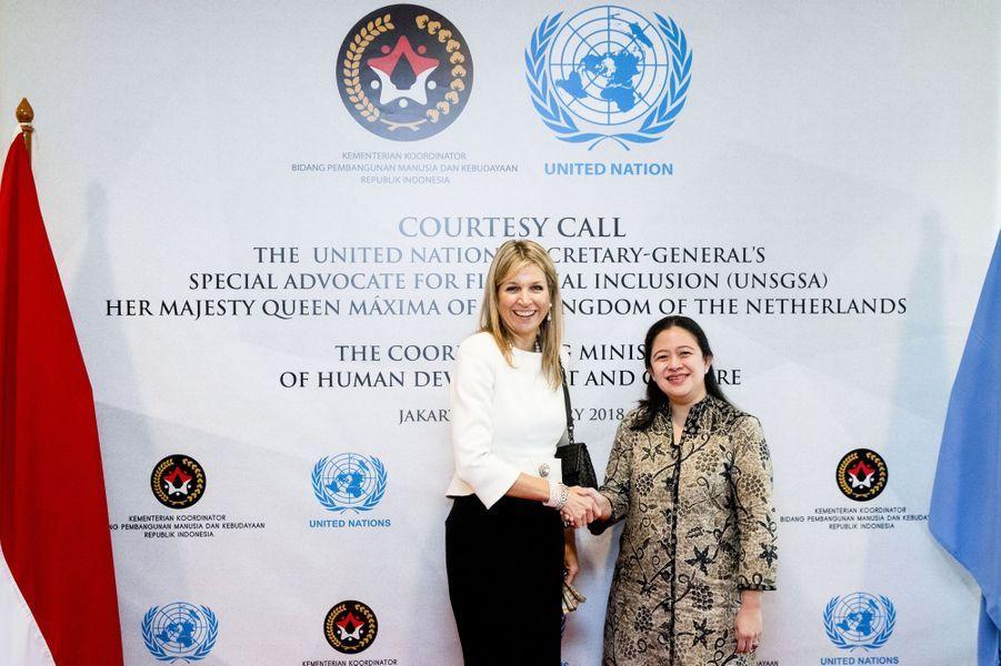 La reine Maxima des Pays-Bas et la ministre indonésienne Puan Maharani à Jakarta, le 13 février 2018