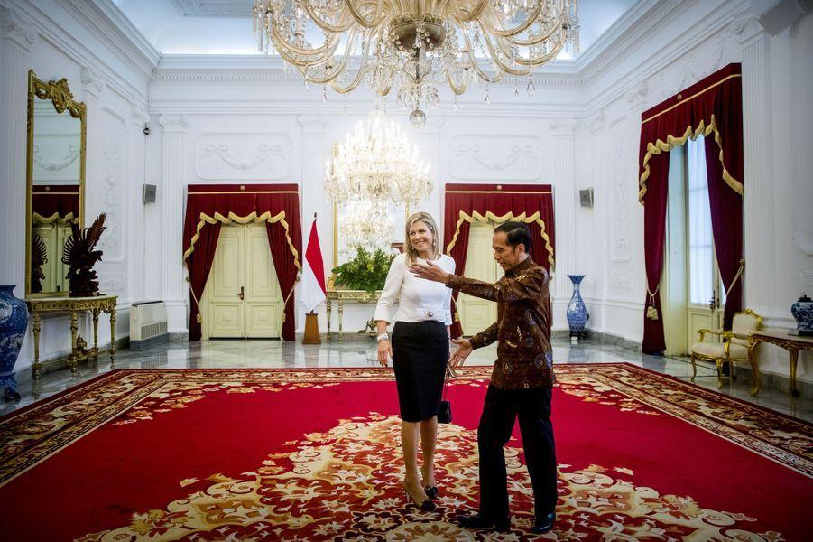 La reine Maxima des Pays-Bas avec le président de la République d'Indonésie Joko Widodo à Jakarta, le 13 février 2018