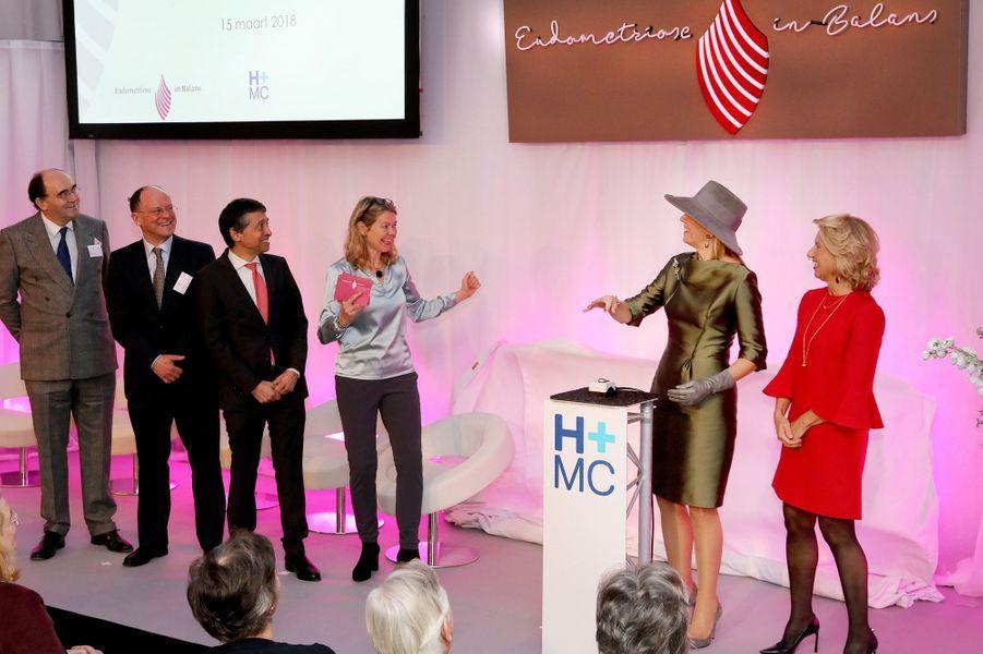 La reine Maxima des Pays-Bas inaugure un centre d'expertise pour l'endométriose à La Haye, le 15 mars 2018