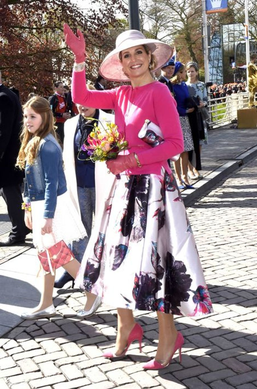 La reine Maxima des Pays-Bas avec la princesse Alexia à Zwolle, le 27 avril 2016