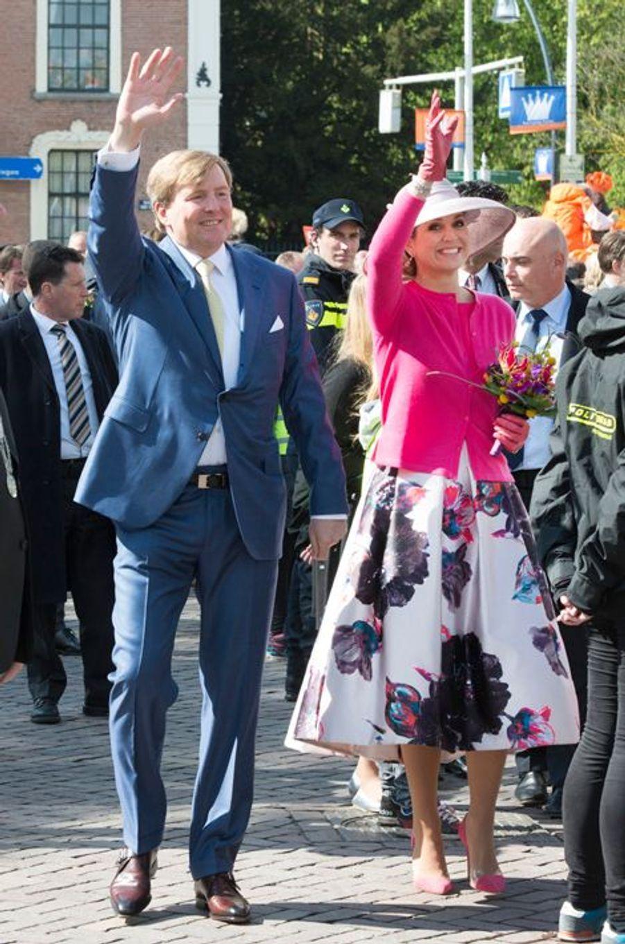 La reine Maxima et le roi Willem-Alexander des Pays-Bas à Zwolle, le 27 avril 2016