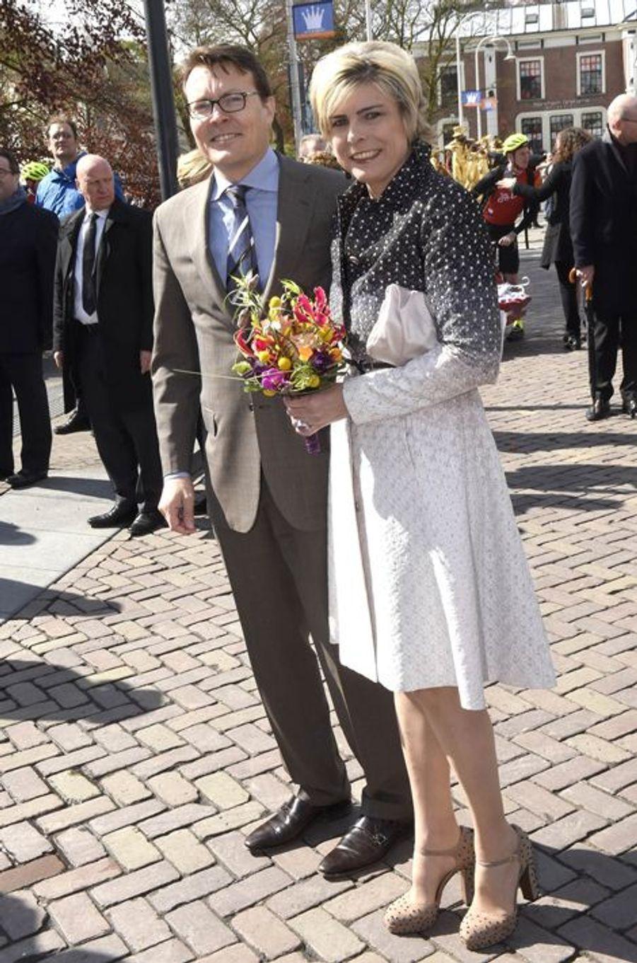 Le prince Constantijn et la princesse Laurentien des Pays-Bas à Zwolle, le 27 avril 2016