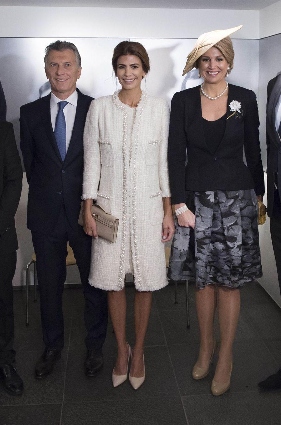 La reine Maxima des Pays-Bas avec Mauricio Macri et Juliana Awada à Amsterdam, le 27 mars 2017