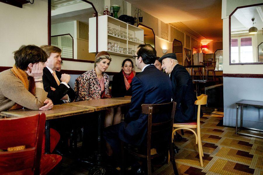 La reine Maxima des Pays-Bas avec le roi Willem-Alexander à Paris, le 11 mars 2016
