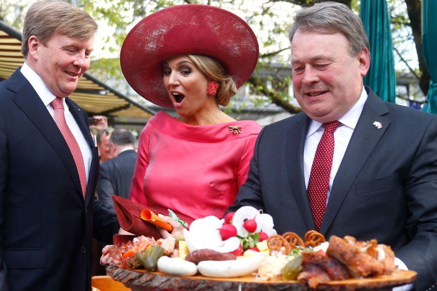 La reine Maxima des Pays-Bas avec le roi Willem-Alexander en Allemagne, le 13 avril 2016