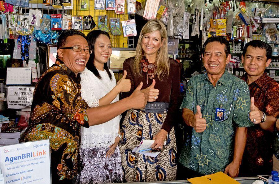 La reine Maxima des Pays-Bas en Indonésie, le 31 août 2016