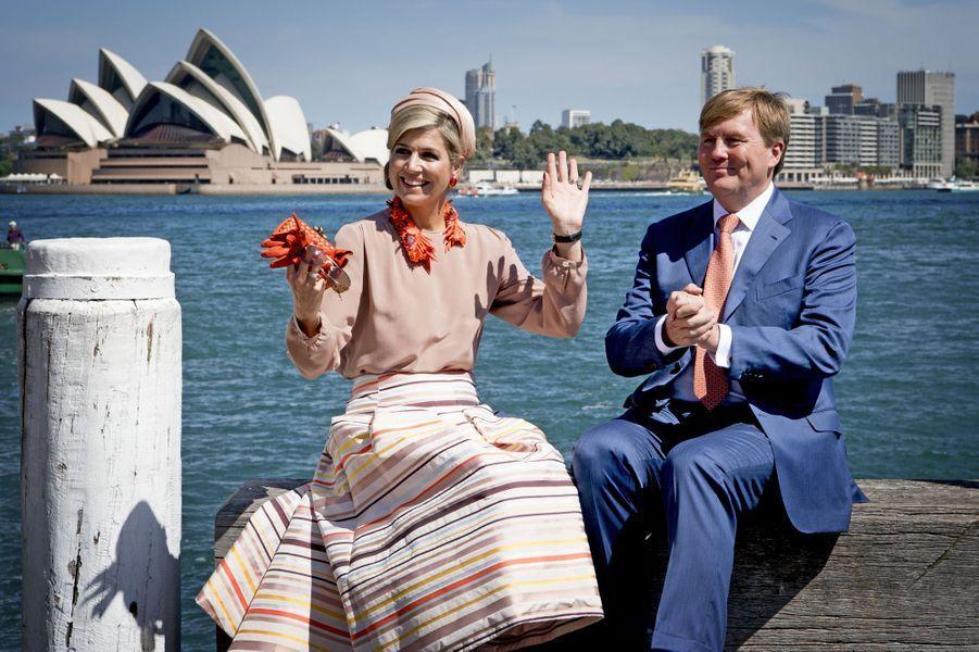 La reine Maxima des Pays-Bas avec le roi Willem-Alexander en Australie, le 3 novembre 2016