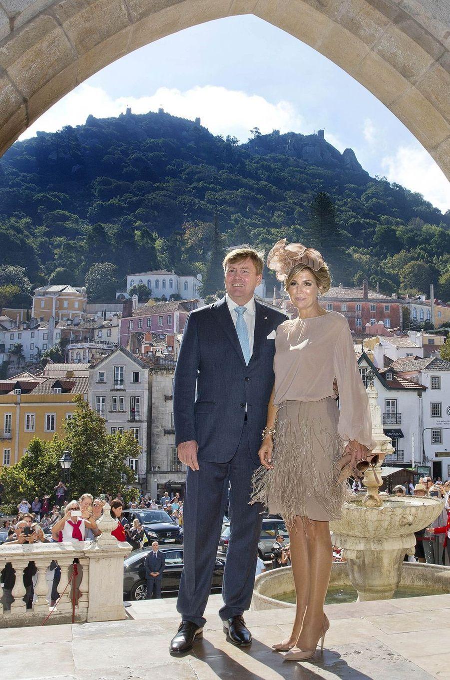 La reine Maxima des Pays-Bas avec le roi Willem-Alexander à Lisbonne, le 12 octobre 2017
