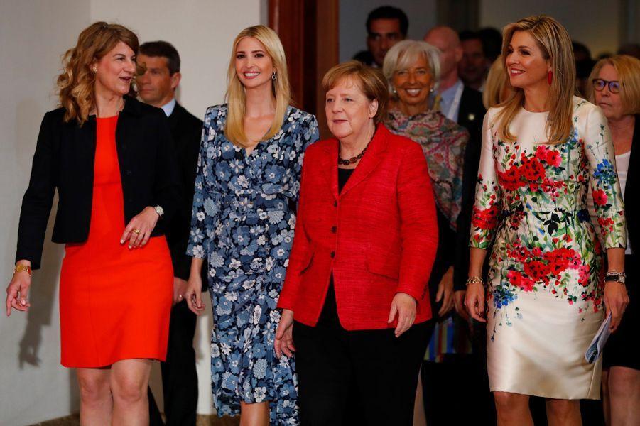 La reine Maxima des Pays-Bas avec Angela Merkel et Ivanka Trump à Berlin, le 25 avril 2017