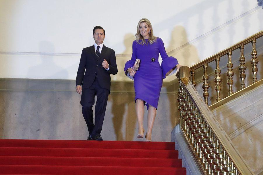 La reine Maxima des Pays-Bas avec le président du Mexique Enrique Pena Nieto à Mexico, le 7 septembre 2017