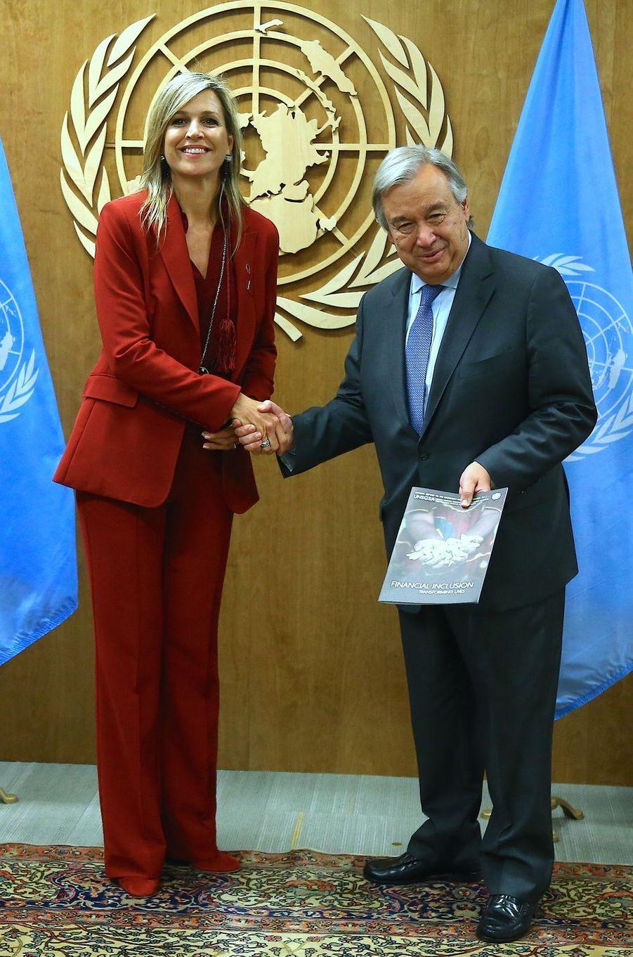 La reine Maxima des Pays-Bas avec Antonio Guterres au siège de l'ONU à New York, le 20 septembre 2017
