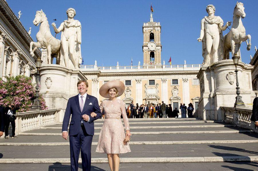 La reine Maxima des Pays-Bas avec le roi Willem-Alexander à Rome, le 20 juin 2017