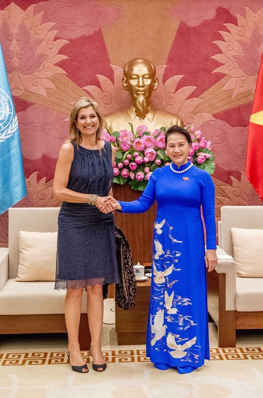 La reine Maxima des Pays-Bas avec Nguyên Thi Kim Ngân à Hanoï, le 31 mai 2017